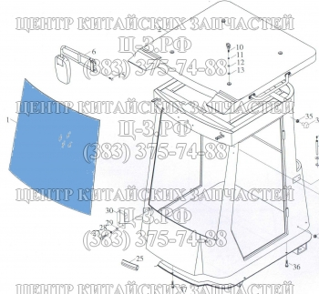 Стекло лобовое на Foton FL936F, FL935E, XCMG LW300F купить